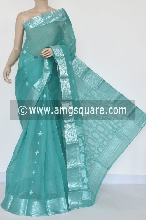Sea Green Handwoven Bengal Tant Cotton Saree (Without Blouse) Silver Zari Border 17010
