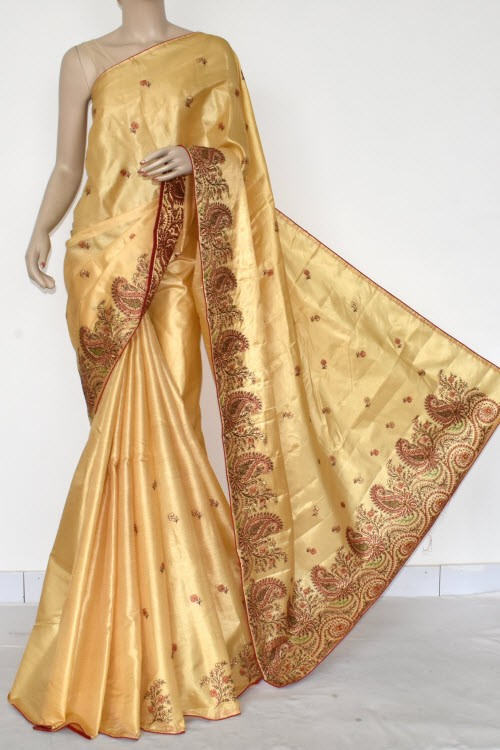 Beige Embroidered Tusser Art Silk Saree (With Blouse) 13467