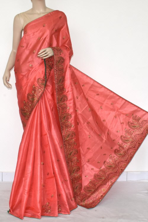 Peach Embroidered Tusser Art Silk Saree (With Blouse) 13468