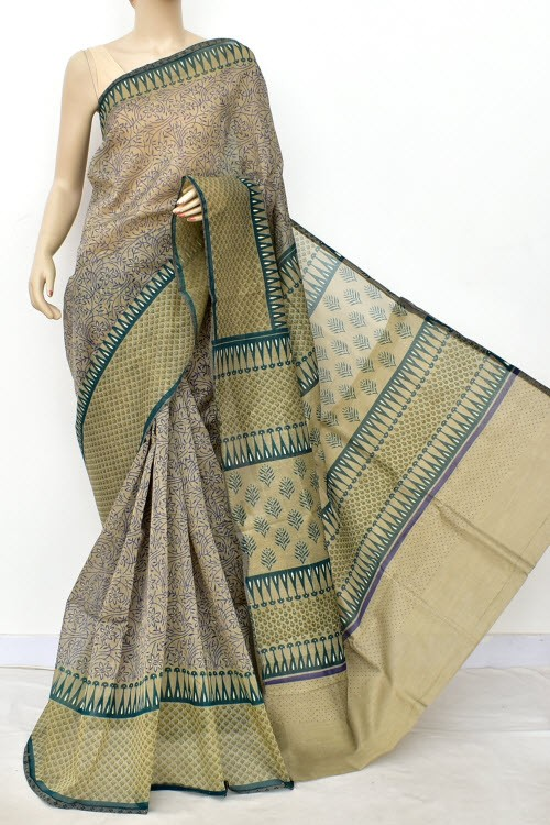 Blue Green Exclusive Cotton Taspa Printed Saree (With Blouse) 13469
