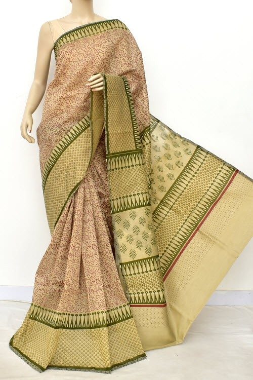 Rust Green Exclusive Cotton Taspa Printed Saree (With Blouse) 13470