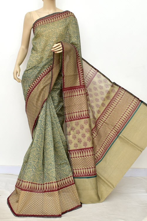 Green Maroon Exclusive Cotton Taspa Printed Saree (With Blouse) 13471