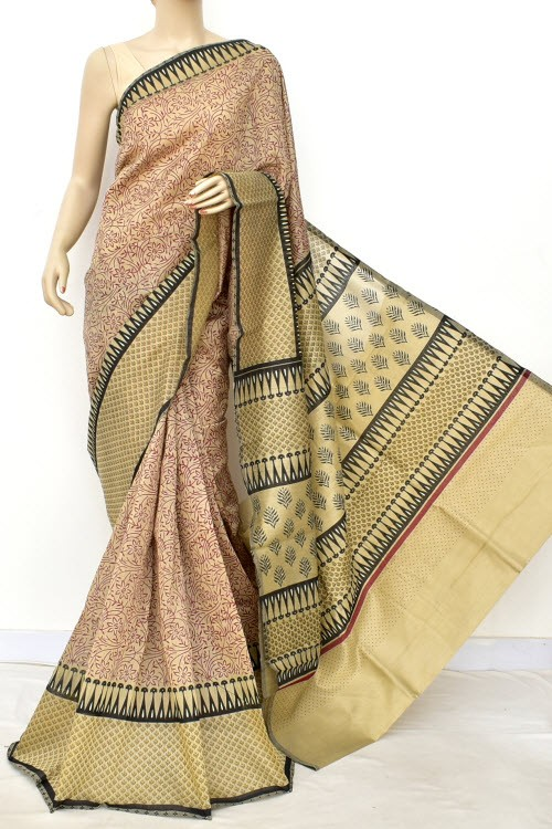 Maroon Green Exclusive Cotton Taspa Printed Saree (With Blouse) 13472