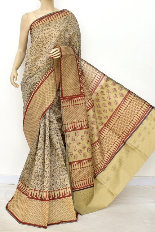 Purple Rust Exclusive Cotton Taspa Printed Saree (With Blouse) 13473