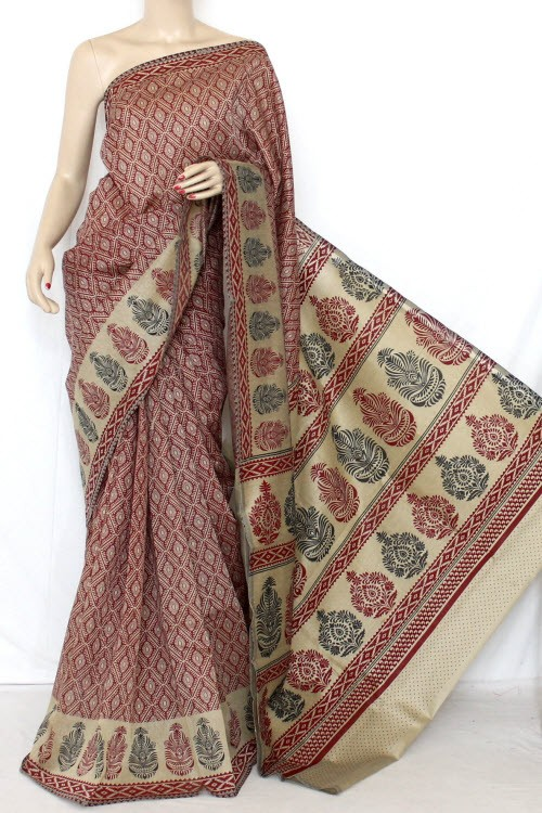 Maroon fawn Exclusive Cotton Taspa Printed Saree (With Blouse) 13474