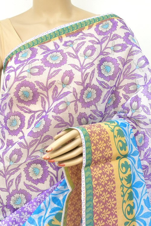 Lavender Pherozi Exclusive Cotton Taspa Printed Saree (With Blouse) 13475