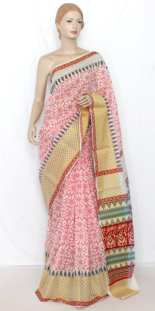 Pink Exclusive Cotton Taspa Printed Saree (With Blouse) 13476