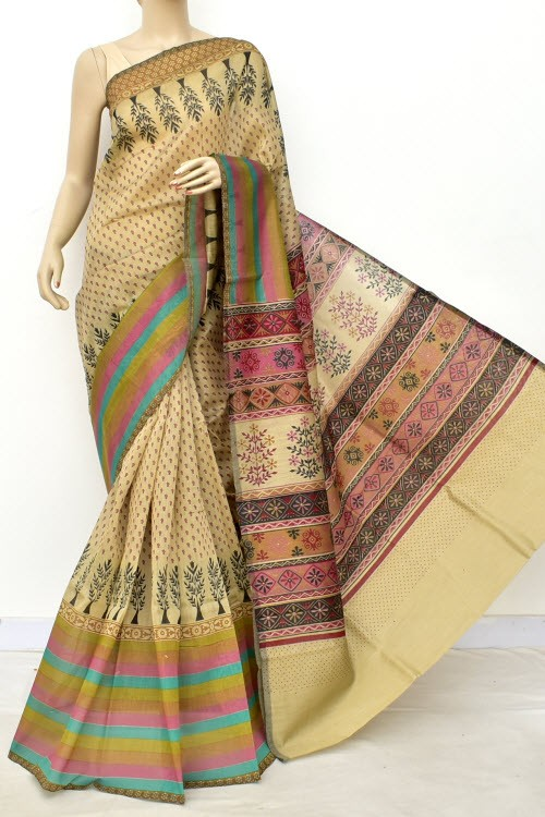 Rust Fawn Exclusive Cotton Taspa Printed Saree (With Blouse) 13477