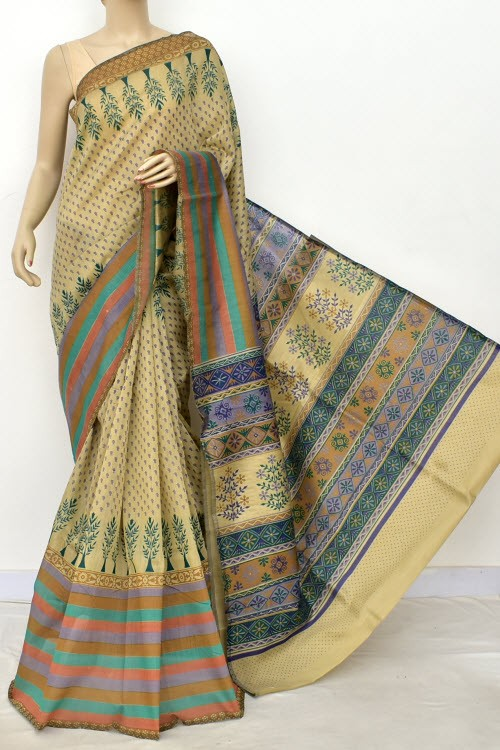 Blue Fawn Exclusive Cotton Taspa Printed Saree (With Blouse) 13478