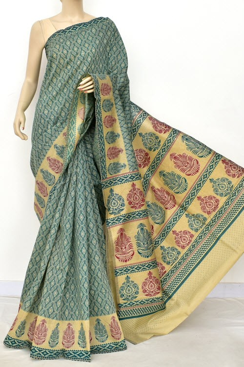 Green Fawn Exclusive Cotton Taspa Printed Saree (With Blouse) 13479