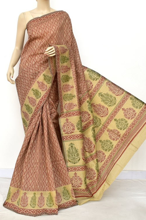 Rust Fawn Exclusive Cotton Taspa Printed Saree (With Blouse) 13480