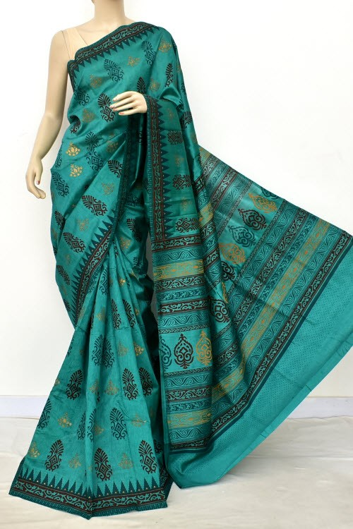 Green Exclusive Cotton Taspa Printed Saree (With Blouse) 13486