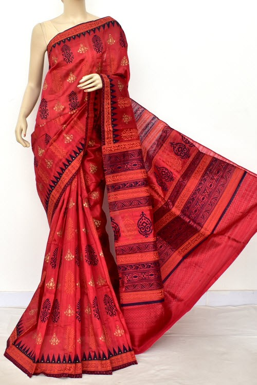 Red Exclusive Cotton Taspa Printed Saree (With Blouse) 13487