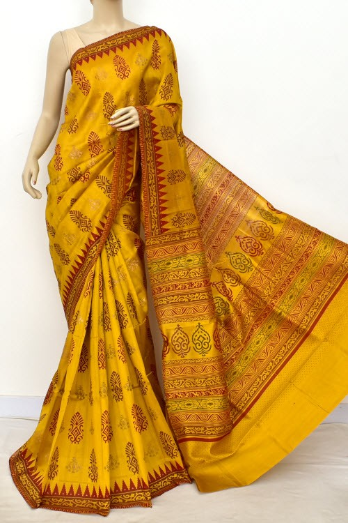 Golden Yellow Exclusive Cotton Taspa Printed Saree (With Blouse) 13488