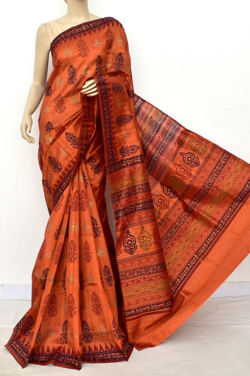 Copper Exclusive Cotton Taspa Printed Saree (With Blouse) 13489