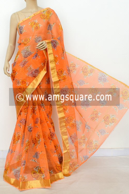 Peach JP Kota Doria Printed Cotton Saree (without Blouse) Zari Border 13499
