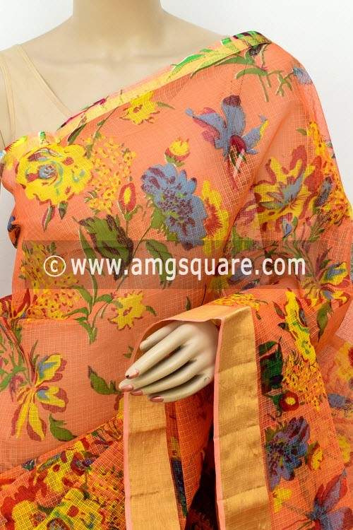 Peach JP Kota Doria Printed Cotton Saree (without Blouse) Zari Border 13503