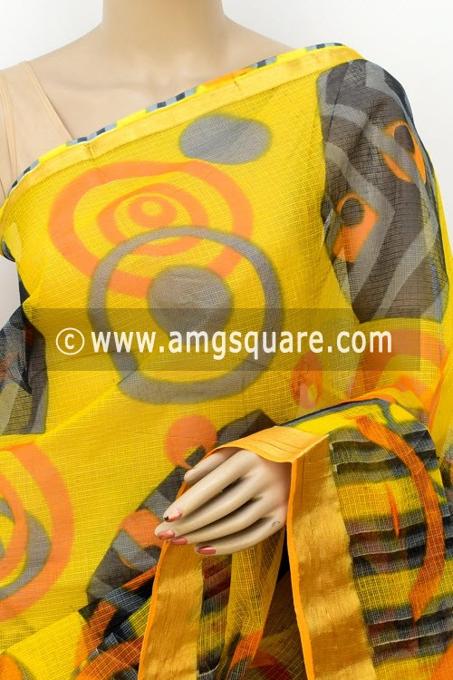 Yellow JP Kota Doria Printed Cotton Saree (without Blouse) Zari Border 13505