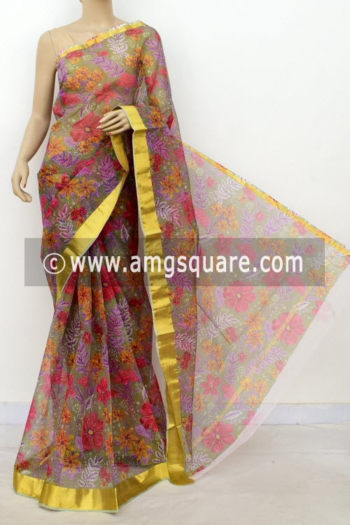 Grey JP Kota Doria Printed Cotton Saree (without Blouse) Zari Border 13506