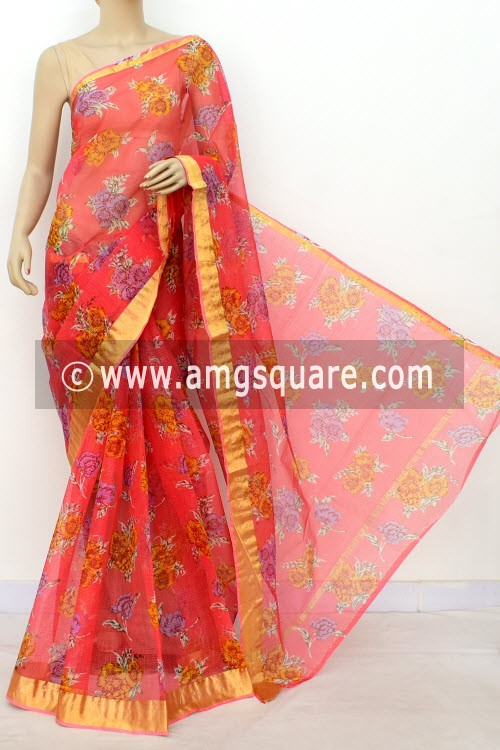 Peach JP Kota Doria Floral Print Cotton Saree (without Blouse) Zari Border 13508