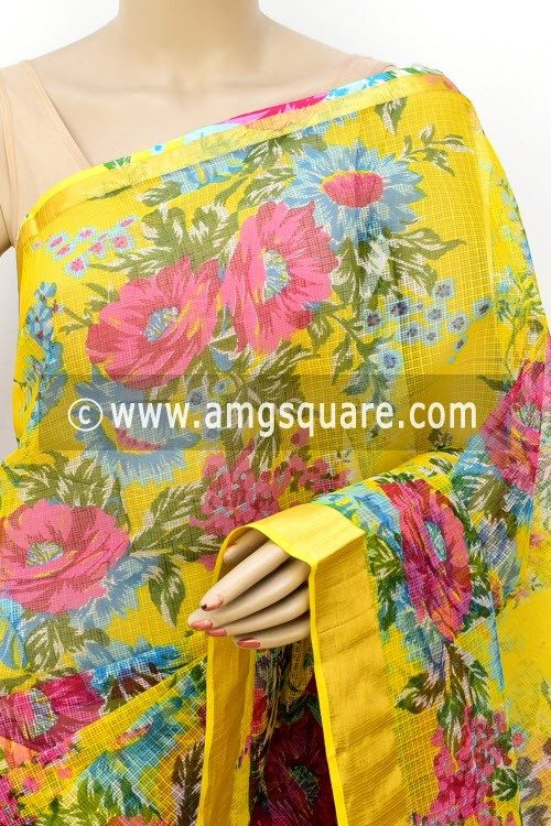 Yellow JP Kota Doria Floral Print Cotton Saree (without Blouse) Zari Border 13509