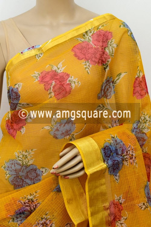 Mustared Yellow JP Kota Doria Printed Cotton Saree (without Blouse) Zari Border 13510