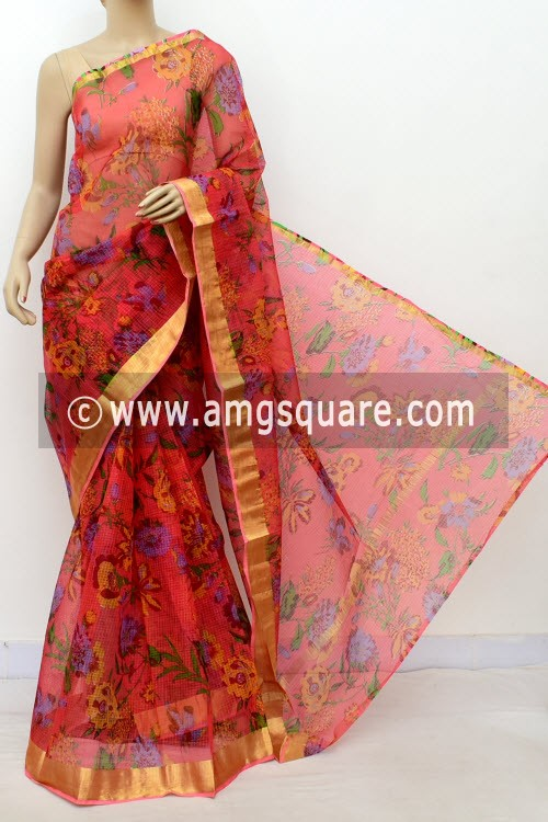 Peach JP Kota Doria Printed Cotton Saree (without Blouse) Zari Border 13511