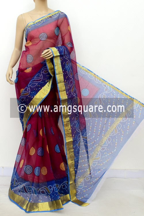 Maroon Blue JP Kota Doria Printed Cotton Saree (without Blouse) Chunri Print Zari Border 13512