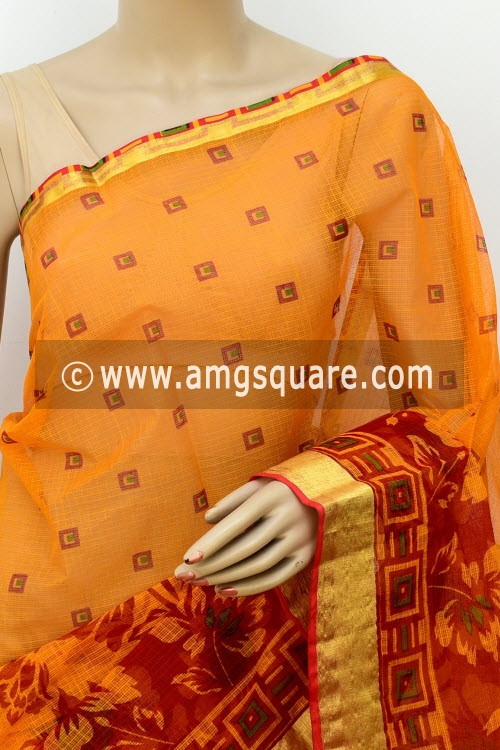 Yellow Red JP Kota Doria Printed Cotton Saree (without Blouse) Zari Border 13513