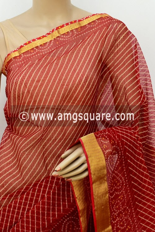 Red JP Kota Doria Printed Cotton Saree (without Blouse) Half-Half Chunri Print Zari Border 13514