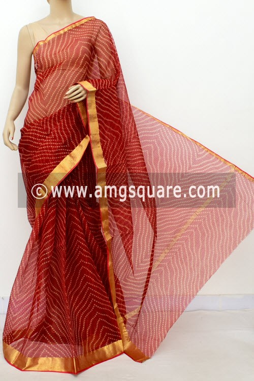 Red JP Kota Doria Printed Cotton Saree (without Blouse) Chunri Print Zari Border 13515