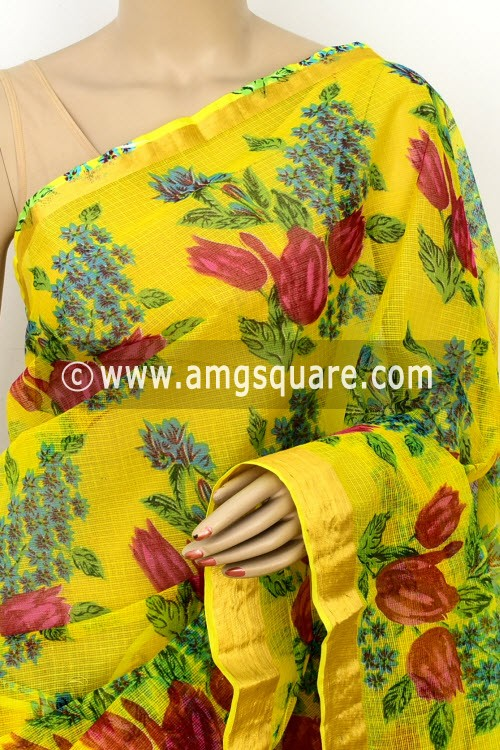 Yellow JP Kota Doria Printed Cotton Saree (without Blouse) Zari Border 13522