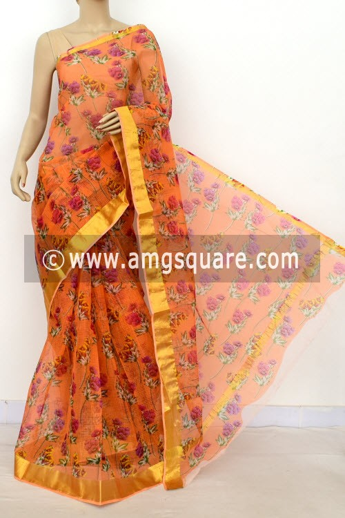 Peach JP Kota Doria Printed Cotton Saree (without Blouse) Zari Border 13523