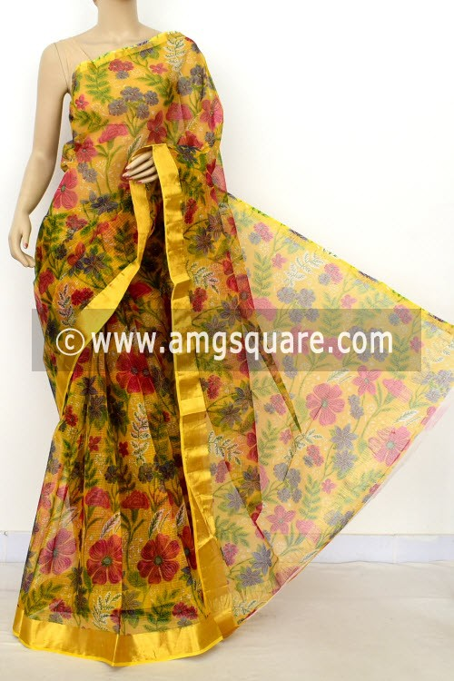 Mustared JP Kota Doria Printed Cotton Saree (without Blouse) Zari Border 13524