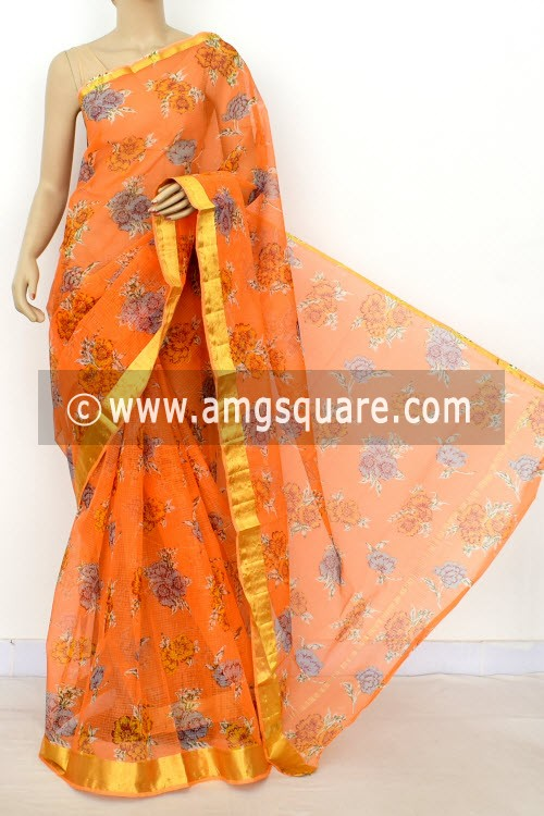 Peach JP Kota Doria Printed Cotton Saree (without Blouse) Zari Border 13525