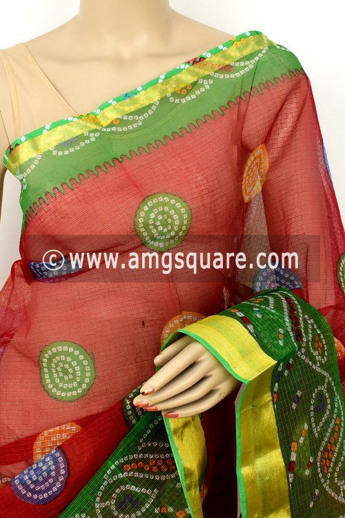 Red Green JP Kota Doria Printed Cotton Saree (without Blouse) Chunri Print Zari Border 13526