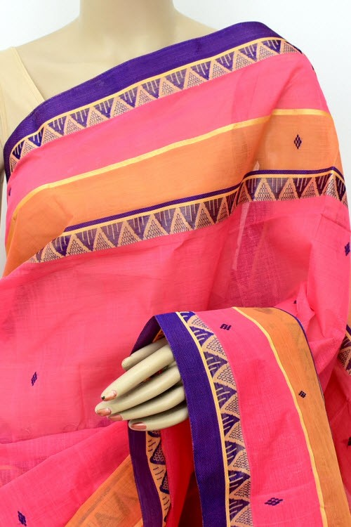 Dark Peach Handloom Bengal Tant Cotton Saree (Without Blouse) 13933