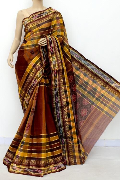 Coffee Handloom Bengal Tant Cotton Saree (Without Blouse) Kotki Border 13935