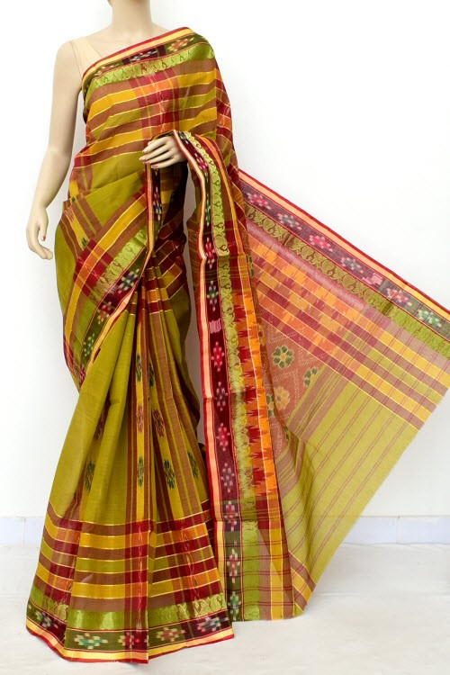 Menhdi Green Maroon Handloom Bengal Tant Cotton Saree (Without Blouse) Kotki Border 13936