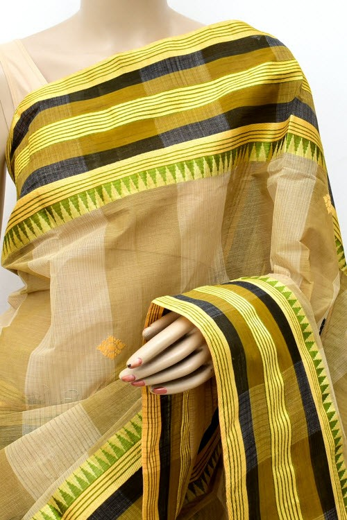 Fawn Handloom Bengal Tant Cotton Saree (Without Blouse) 13944