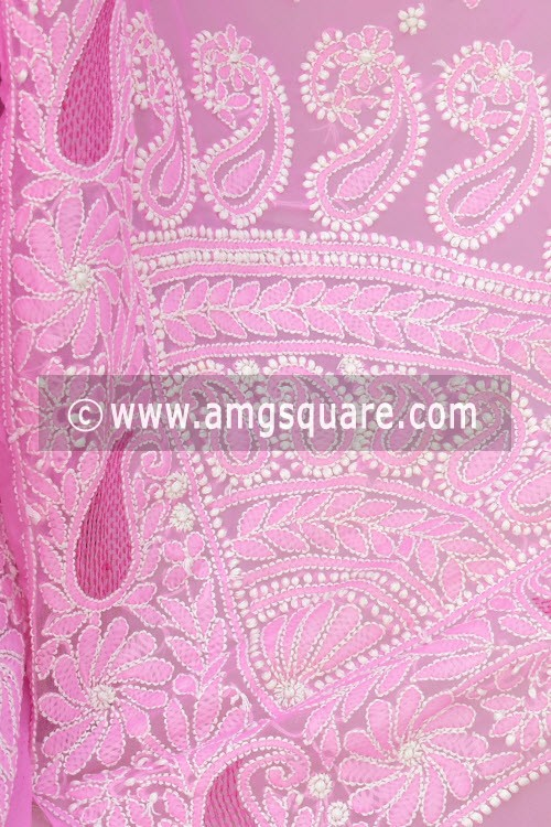 Pink Hand Embroidered Lucknowi Chikankari Saree (With Blouse - Georgette) Rich Pallu 14627