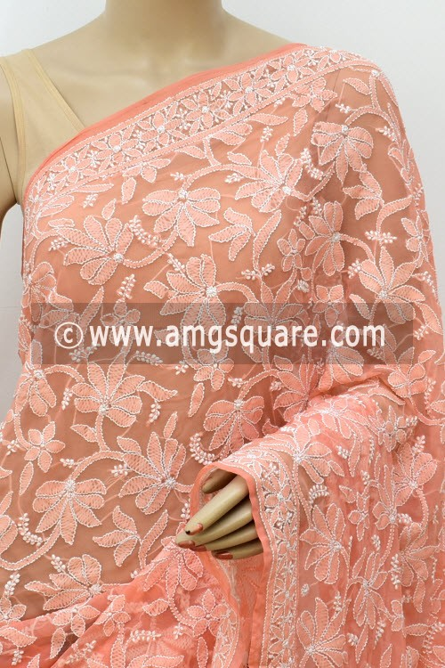 Peach Hand Embroidered Lucknowi Chikankari Saree (With Blouse - Georgette) Half Jaal 14632