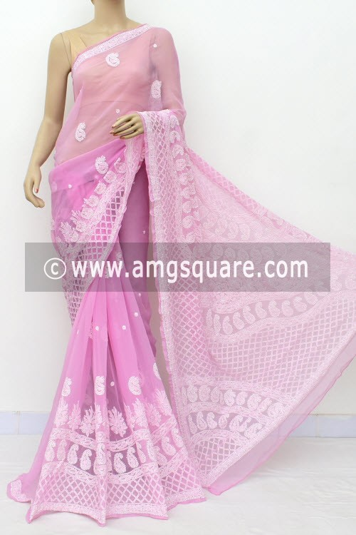 Pink Designer Hand Embroidered Lucknowi Chikankari Saree (With Blouse - Georgette) Heavy Skirt Border 14636