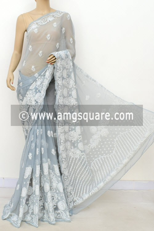 Grey Designer Hand Embroidered Lucknowi Chikankari Saree (With Blouse - Georgette) Skirt Border 14646
