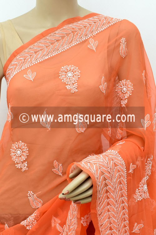 Orange Designer Hand Embroidered Lucknowi Chikankari Saree (With Blouse - Georgette)14658
