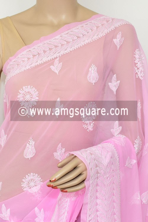 Pink Hand Embroidered Lucknowi Chikankari Saree (With Blouse - Georgette) Rich Pallu & Border 14660