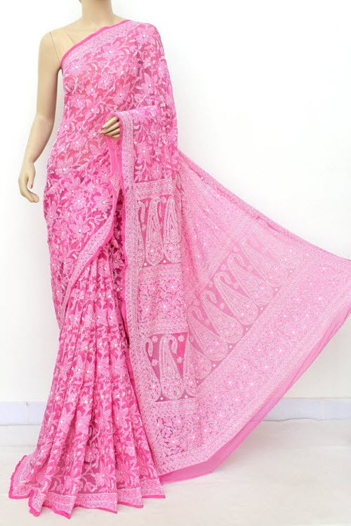 Onion Allover Hand Embroidered Lucknowi Chikankari Saree (With Blouse - Faux Georgette) 14700