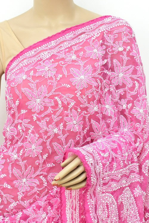 Onion Allover Hand Embroidered Lucknowi Chikankari Saree (With Blouse - Faux Georgette) 14701