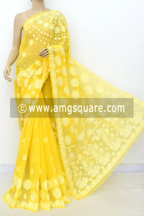 Yellow Designer Hand Embroidered Lucknowi Chikankari Saree (With Blouse - Georgette) 14712