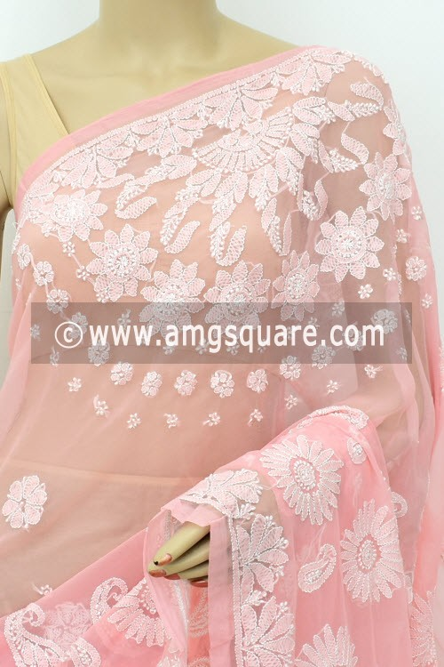 Peach Designer Hand Embroidered Lucknowi Chikankari Saree (With Blouse - Georgette) 14713